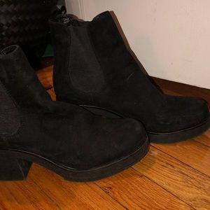 Black suede platform booties